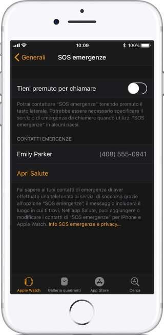 Impostazioni SOS per Apple Watch