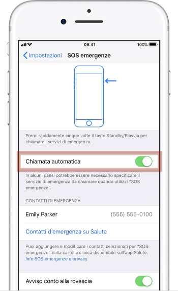 Impostazioni SOS per iPhone 7