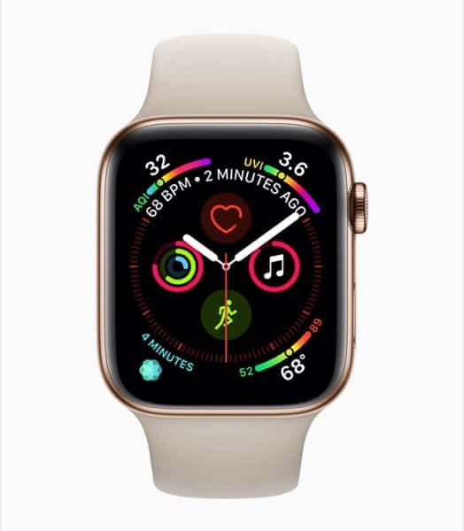 Apple Watch Series 4 Mostra Watchface per Esercizi e Fitness