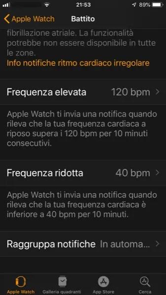 Configurazione Soglie Frequenza Cardiaca Elevata e Ridotta su Apple Watch