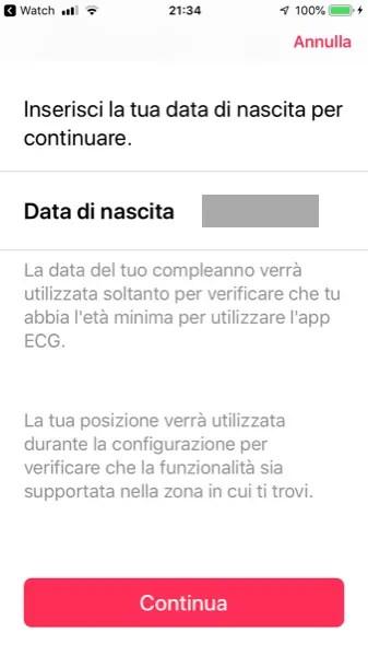 Verifica Data di Nascita per Installazione App ECG su Apple Watch