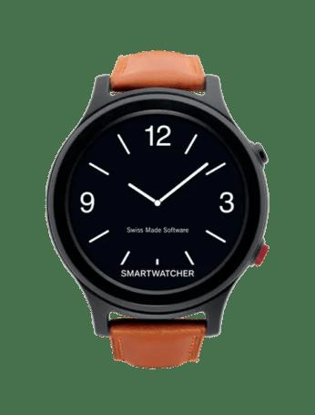 Smartwatcher ESSENCE deluxe nero con cinturino di pelle