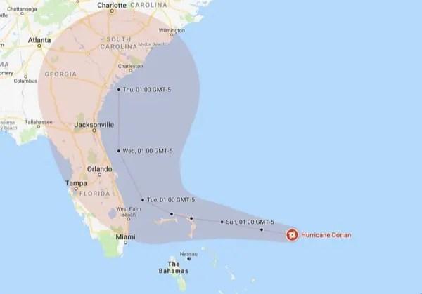 Percorso Previsto Uragano Dorian