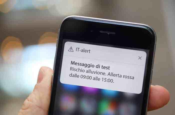 Esempio di Messaggio IT-Alert di Tipo Cell Broadcast