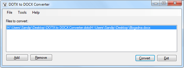 Dotx to Docx Conveter