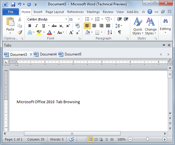 Word Addin Tabs for Microsoft Office 2010