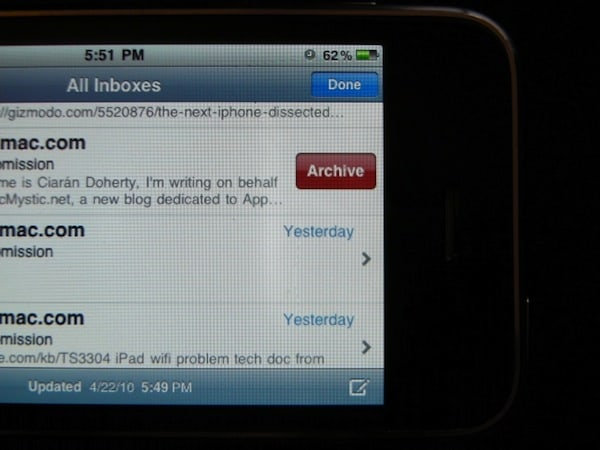 iPhone OS 4 Adds Gmail Archive Feature to Native Mail App