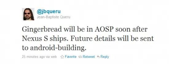 Gingerbread AOSP tweet