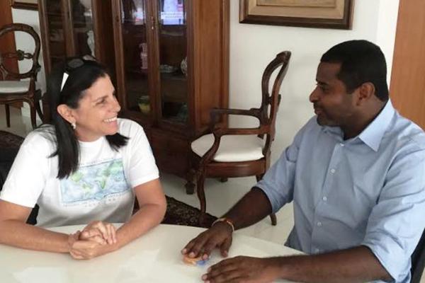 Ex-governadora Roseana Sarney conversa com o vereador de São Luís Fábio Câmara