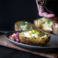 Twice Baked Potatoes Topped with Fresh Salsa