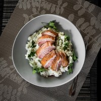 Pan-Seared Duck Breast on Risotto