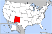 The state of New Mexico is highlighted.Taos is in the north