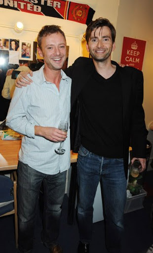 John Simm and David Tennant attends the afterparty following the press night of 'Speaking In Tongues', at the Jewell Bar on September 28, 2009 in London, England.
