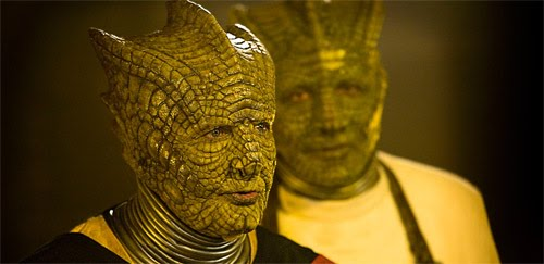 Stephen Moore as Eldane in the Doctor Who episode Cold Blood (alongside Richard Hope as Malohkeh) (c) BBC Studios