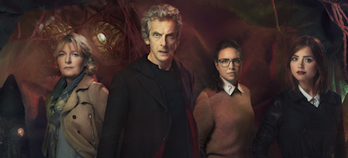 Jemma Redgrave as Kate, Peter Capaldi as the Doctor, Ingrid Oliver as Osgood and Jenna Coleman as Clara