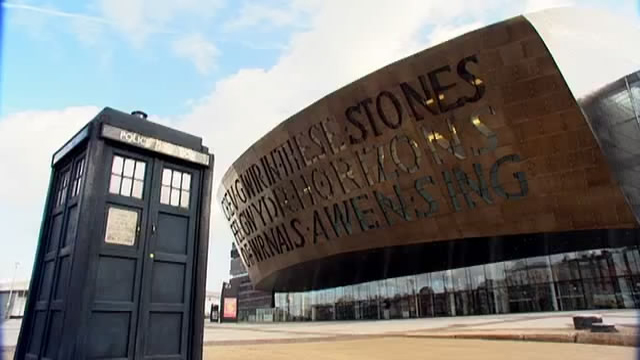TARDIS on Location in Cardif