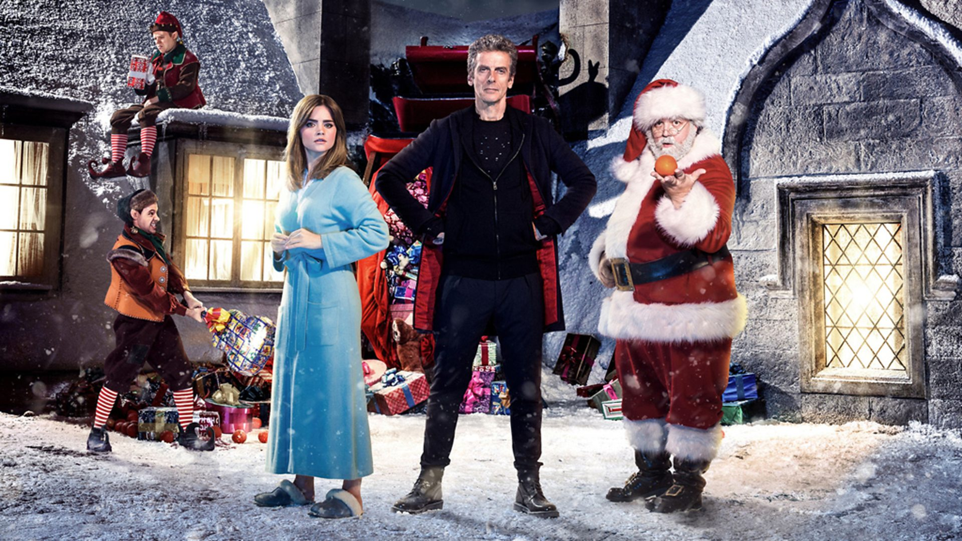 Peter Capaldi as The Doctor, Jenna Coleman as Clara Oswald - Doctor Who Last Christmas - (c) BBC