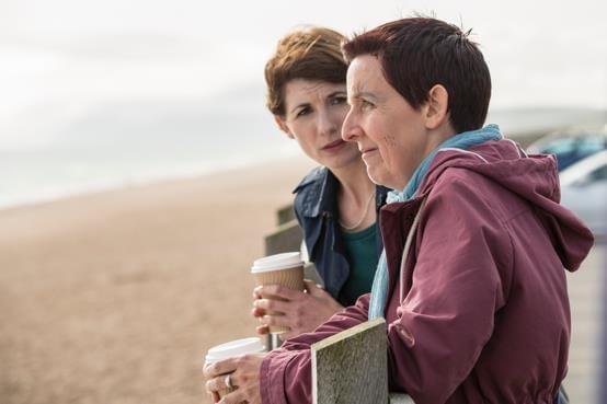 Jodie Whittaker as Beth Latimer and Julie Hesmondhalgh as Trish Winterman - Broadchurch Series 3 (c) ITV