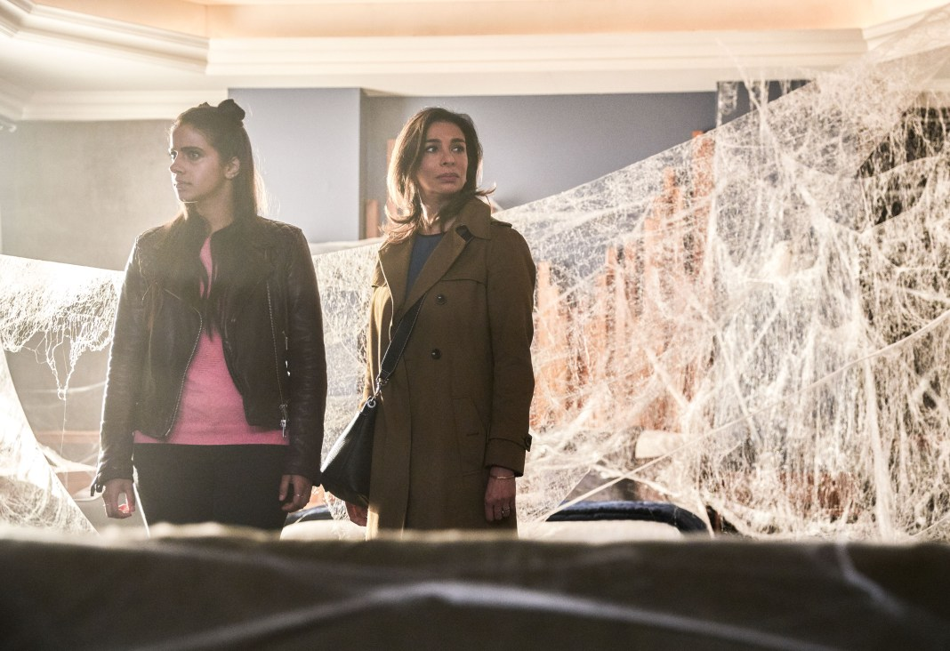 Doctor Who - Series 11 - Ep 4 - Arachnids in the UK - Picture Shows: Yaz (MANDIP GILL), Najia (SHOBNA GULATI) - (c) BBC Studios