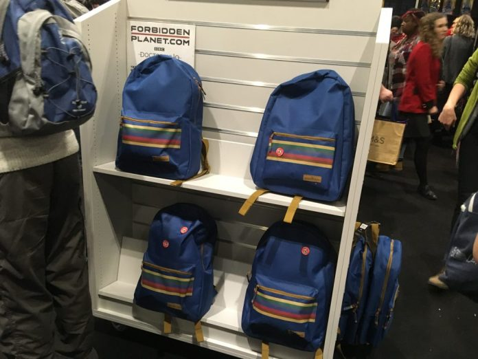 Thirteenth Doctor Backpacks at Doctor Who Stand at MCM London Comic Con 2018