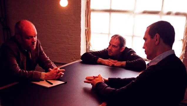 James Peaty directing Toby Hadoke (The Appraiser) and Christopher Sciueref (Mr. Smith) on the set of the second version of The Appraisal (c) Superior Optical