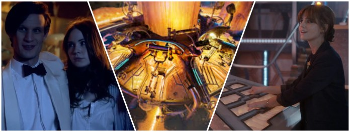 The telepathic circuits take Amy into her own childhood, the new TARDIS console, Clara uses the telepathic circuits (c) BBC Studios