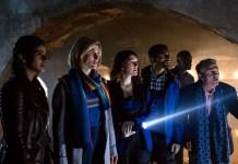 Doctor Who - Resolution - Yaz (MANDIP GILL), The Doctor (JODIE WHITTAKER), Lin (CHARLOTTE RITCHIE), Mitch (NIKESH PATEL), Ryan (TOSIN COLE), Graham (BRADLEY WALSH) - (C) BBC / BBC Studios - Photographer: Sophie Mutevelian