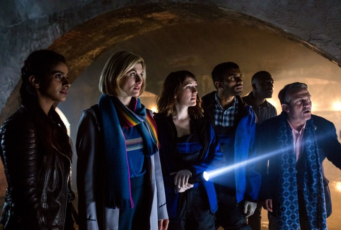 Doctor Who - Resolution - Yaz (MANDIP GILL), The Doctor (JODIE WHITTAKER), Lin (CHARLOTTE RITCHIE), Mitch (NIKESH PATEL), Ryan (TOSIN COLE), Graham (BRADLEY WALSH) - (C) BBC / BBC Studios - Photographer: Sophie Mutevelian
