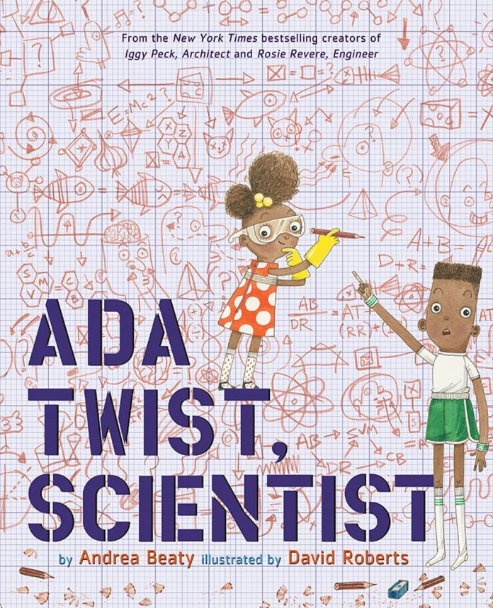 The cover to Ada Twist, Scientist by Andrea Beaty and David Roberts (c) Abrams Books