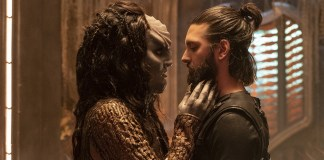 """Point of Light"" -- Ep #203 - Pictured (l-r): Mary Chieffo as L'Rell; Shazad Latif as Ash Tyler of the CBS All Access series STAR TREK: DISCOVERY. Photo Cr: Michael Gibson/CBS © 2018 CBS Interactive. All Rights Reserved."