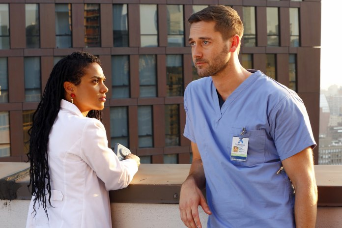 Freema Agyeman as Dr, Helen Sharpe and Ryan Eggold as Dr. Max Goodwin in New Amsterdam (c) NBC