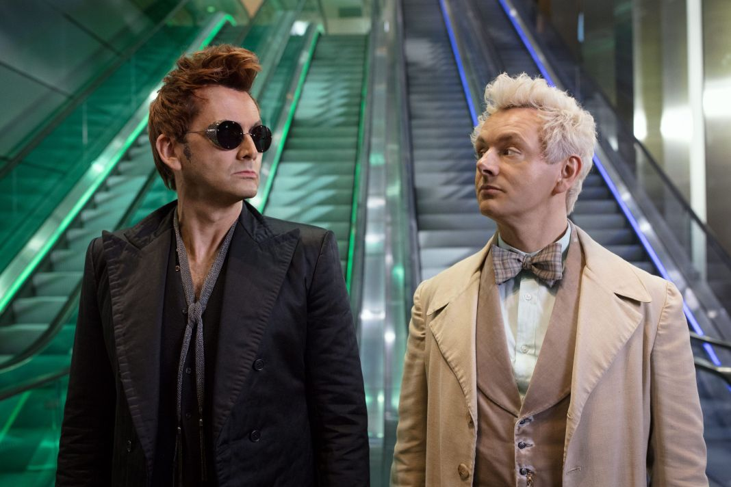 Former Doctor Who David Tenant and Michael Sheen describe the mismatched heroes of Good Omens as a true double act (c) Amazon Prime Video