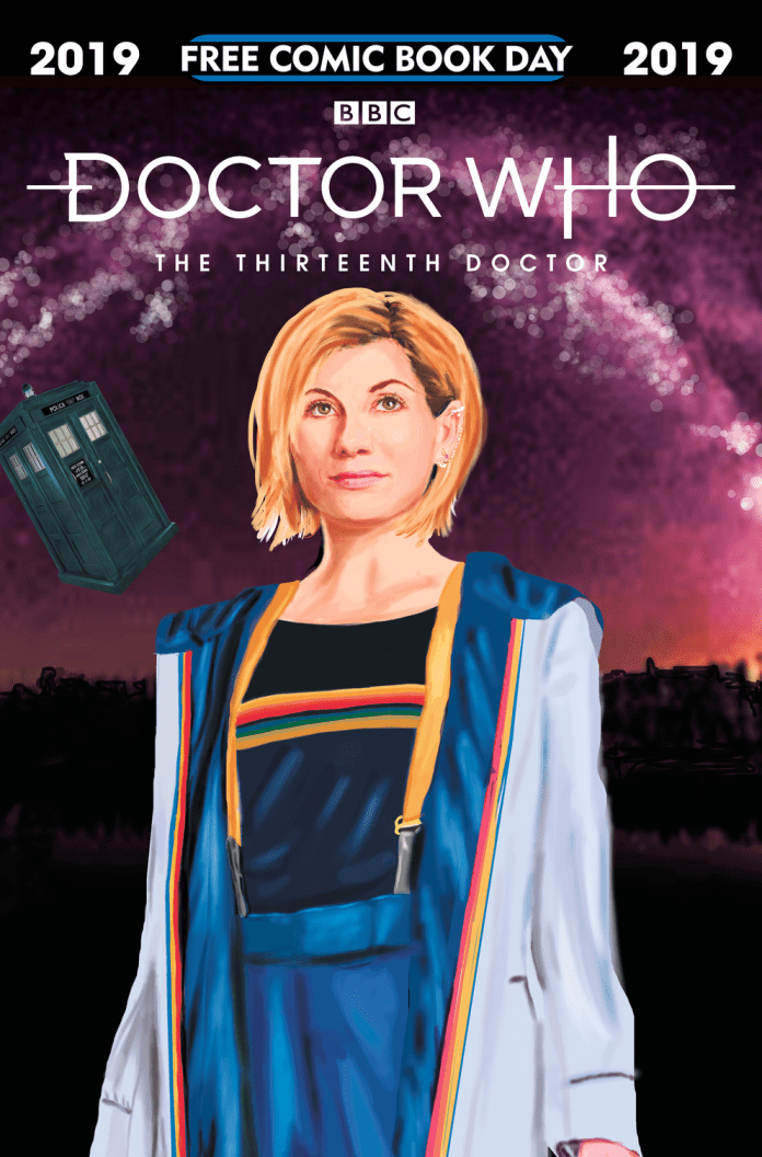 Jessica Martin's alternate cover to Doctor Who: The Thirteenth Doctor Free Comic Book Day 2019, exclusive to Forbidden Planet (c) Titan Comics