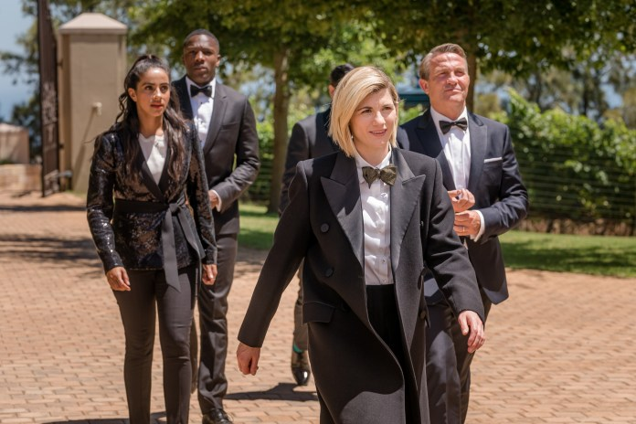 Doctor Who Series 12 - Yaz (MANDIP GILL), Ryan (TOSIN COLE), The Doctor (JODIE WHITTAKER), Graham (BRADLEY WALSH) in Spyfall - (C) BBC / BBC Studios - Photographer: Various