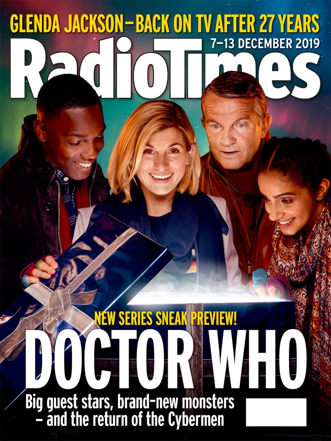 The Radio Times for the 7th-13th of December 2019. Featuring (l-r) Tosin Cole (Ryan), Jodie Whittaker (the Doctor), Bradley Walsh (Graham) and Mandip Gill (Yaz). Photo by Mark Harrison. (c) Radio Times