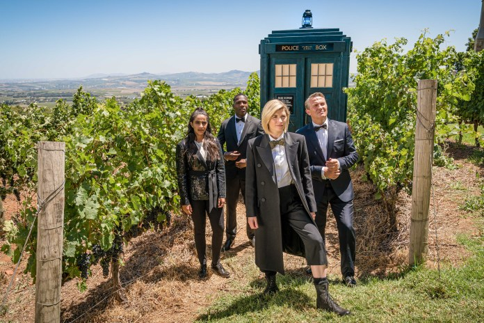 Doctor Who - Spyfall - S12E1 - Yaz (MANDIP GILL), Ryan (TOSIN COLE), The Doctor (JODIE WHITTAKER), Graham (BRADLEY WALSH) - (C) BBC / BBC Studios - Photographer: Various