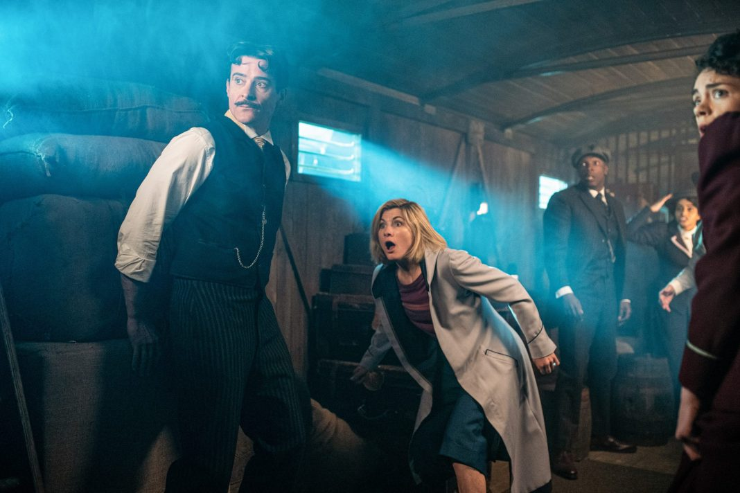 Doctor Who S12E04 - Nikola Telsa's Night of Terror - Nikola Tesla (GORAN VISNJIC), The Doctor (JODIE WHITTAKER), Ryan (TOSIN COLE), Yaz (MANDIP GILL), Graham (BRADLEY WALSH) - (C) BBC - Photographer: Ben Blackall