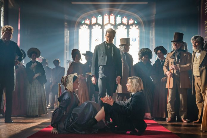 Sylvie Briggs as Ada Lovelace, Mark Dexter as Charles Babbage, Jodie Whittaker as The Doctor - Doctor Who _ Season 12, Episode 2 Spyfall Part Two- Photo Credit: Ben Blackall/BBC Studios/BBC America