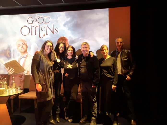 (L-R) Jenna Powell, Lourdes Faberes, Suzanne Smith, Douglas Mackinnon, Claire Anderson, and Gavin Finney at the Good Omens Q&A in London last Thursday (photographed by Paul Scott/@BBCStudios on Twitter)