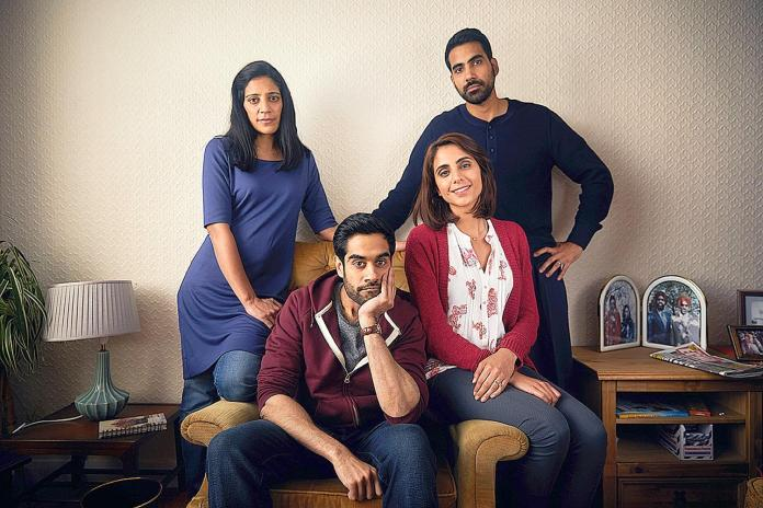 Anjli Mohindra as Bindi, alongside Sacha Dhawan as Sathnam, Vineeta Rishi as Puli and Jaz Deol as Rajah in The Boy in the Topknot (c) BBC