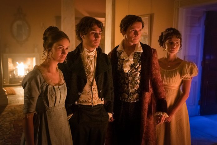 Doctor Who - S12E08- The Haunting of Villa Diodati - Lili Miller as Mary Wollstonecraft Godwin, Maxim Baldry as Dr John Polidori, Jacob Collins-Levy as Lord Byron, Nadia Parkes as Claire Clairmont - Photo Credit: Ben Blackall/BBC Studios/BBC America