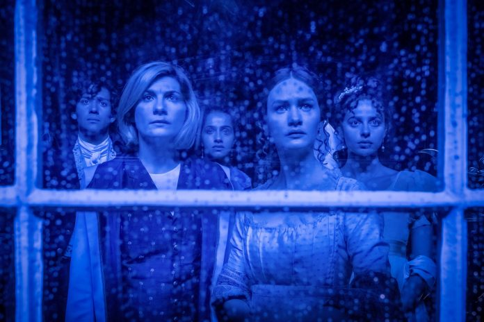 Doctor Who - S12E08- The Haunting of Villa Diodati - Maxim Baldry as Dr John Polidori, Jodie Whittaker as The Doctor, Mandip Gill as Yaz, Lili Miller as Mary Wollstonecraft Godwin, Nadia Parkes as Claire Clairmont - Photo Credit: Ben Blackall/BBC Studios/BBC America