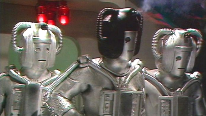 Reduced to a rag tag force by the Cyber-wars, the last of the Cybermen plot to destroy Voga, planet of gold in Revenge of the Cybermen (c) BBC Studios