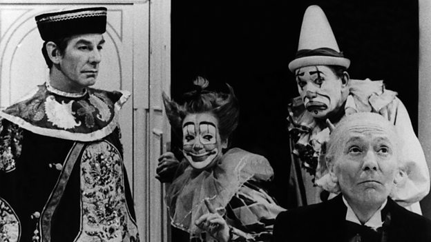 The Celestial Toymaker (Michael Gough) and two of his victims/toys (Carmen Silvera and Campbell Singer) plot to make the Doctor (William Hartnell) next. (c) BBC Studios