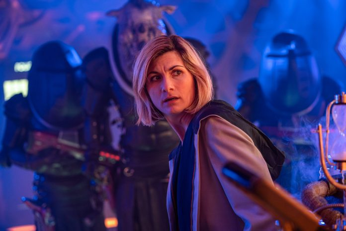 Judoon Captain Pol-Kon-Don, The Doctor (JODIE WHITTAKER) - (C) BBC - Photographer: James Pardon Timeless Children Series 12 Doctor Who Judoon Thirteenth Doctor
