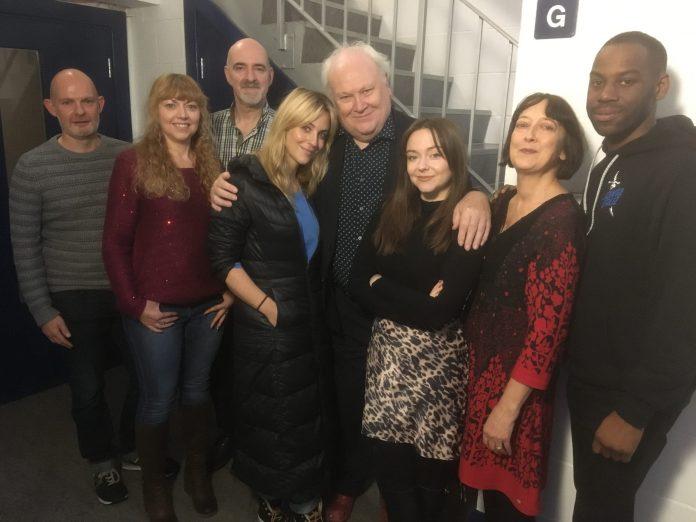 Big Finish - Doctor Who: Cry of the Vultriss - (L-R) Writer Darren Jones, Jo Burke, Nicholas Briggs, Miranda Raison, Colin Baker, Lisa Greenwood, Caroline Lawrie, Daniel Norford