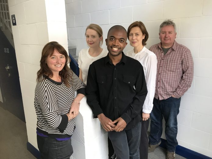 Gina McKee (second from right) with some of her Missy co-stars (l-r) Beth Chalmers, Eve Webster, Matthew Jacobs-Morgan, and John Banks (c) Big Finish Productions Doctor Who