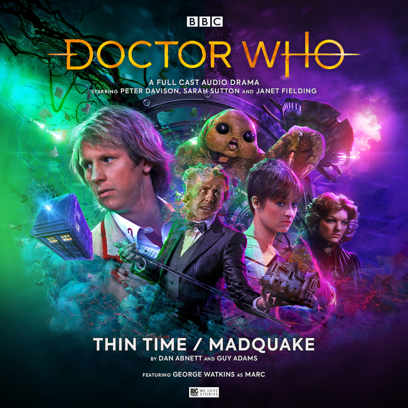 The cast of Madquake (forehead zips not included) (c) Big Finish Productions Back Harley Viveash (Grumma), Raj Ghatak (Mison), George Watkins (Marc) - Front Doña Croll (Bella), Janet Fielding (Tegan) and Sarah Sutton (Nyssa) Doctor Who Slitheen