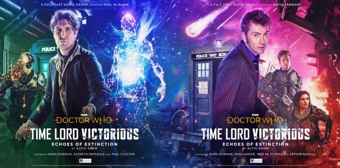 The front and back (or is that back and front) covers of Doctor Who: Time Lord Victorious - Echoes of Extinction (c) Big Finish Productions Tenth Doctor Eighth Doctor David Tennant Paul McGann