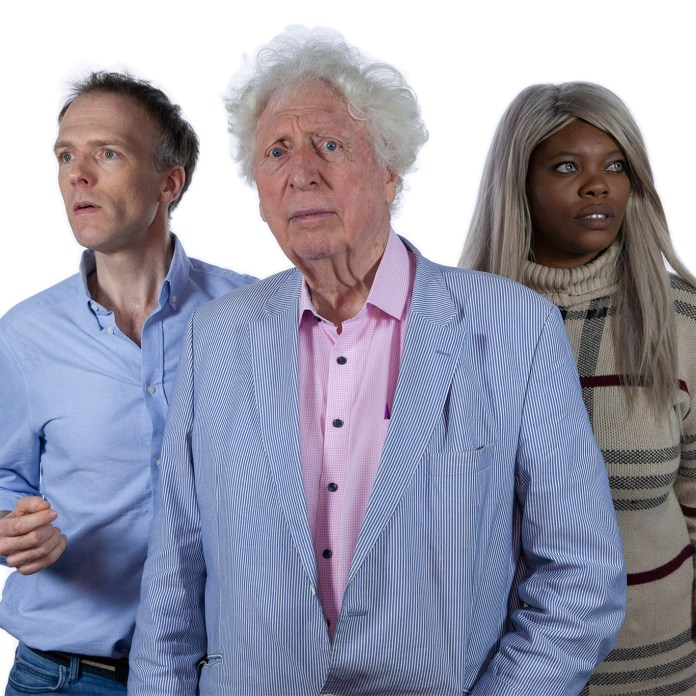 Chris Naylor (Harry Sullivan), Tom Baker (The Doctor), and Eleanor Crooks (Naomi Sullivan) star in Doctor Who: The Fourth Doctor Adventure Series 13 (c) Big Finish Productions